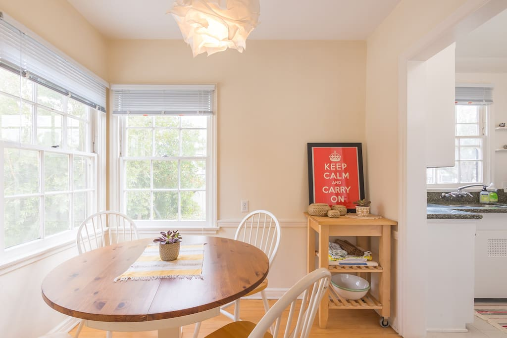 Light filled dining room--perfect for meals or getting some work done.