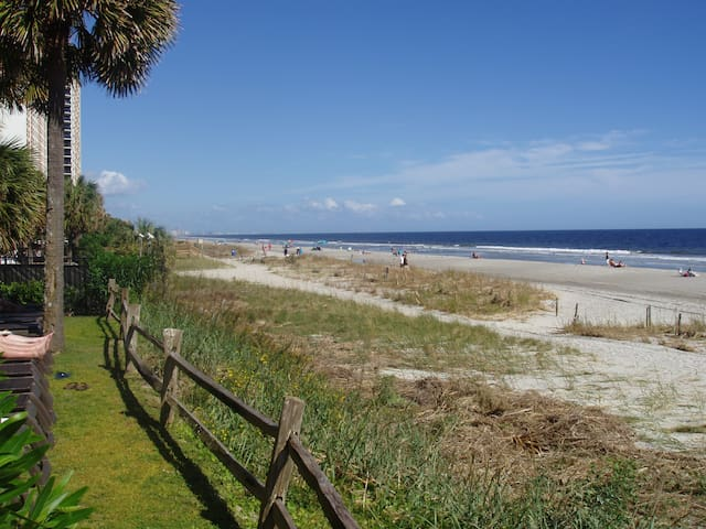 Myrtle Beach is known for it's clean beach, average temperature of 85 in summer and 55 in winter. This condo available year round for your getaway.