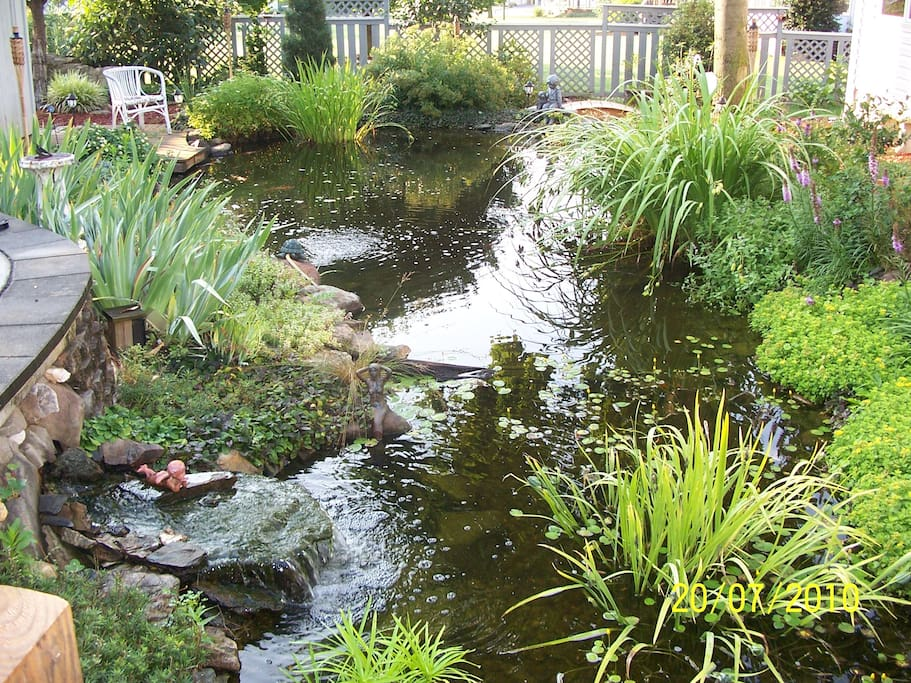 Back yard is a pond with multiple seating areas