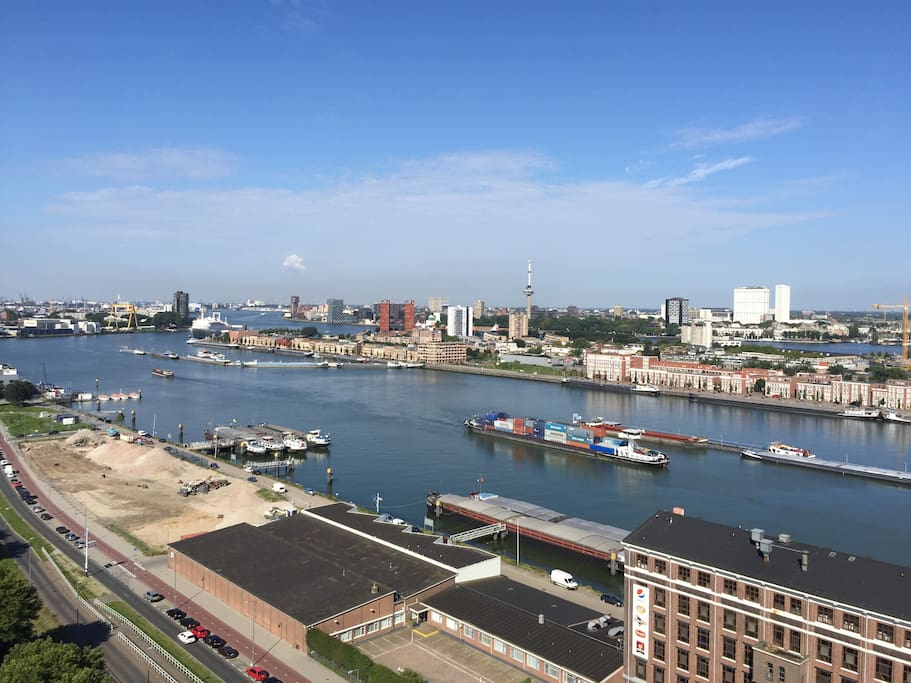 The skyline of Rotterdam from our window
