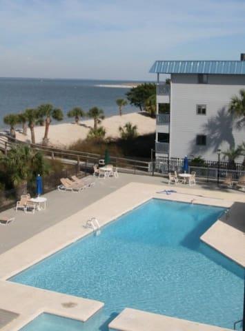 Pool and kiddie pool with ocean view