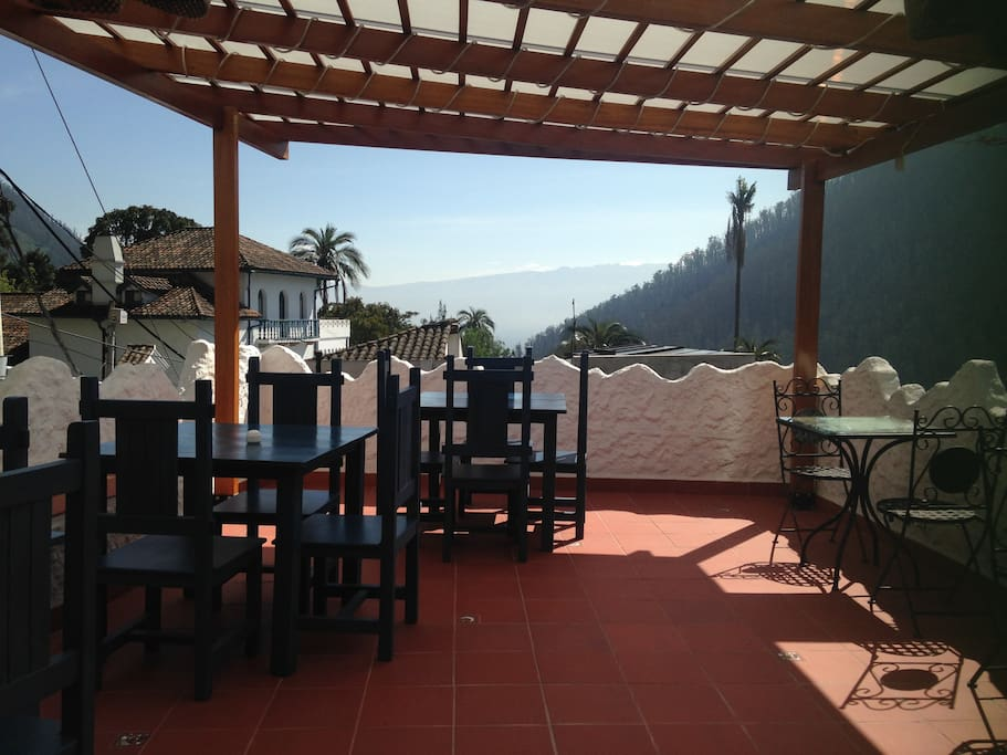 The cafe terrace with high speed internet and great food