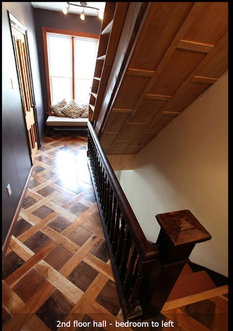 2nd floor hallway with walnut and cherry wood basketweave