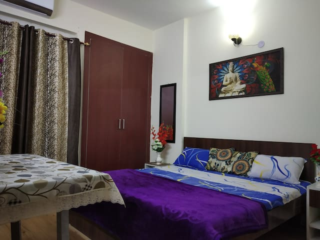 Bedroom with attached washroom and spacious Almirah and attached Balcony.