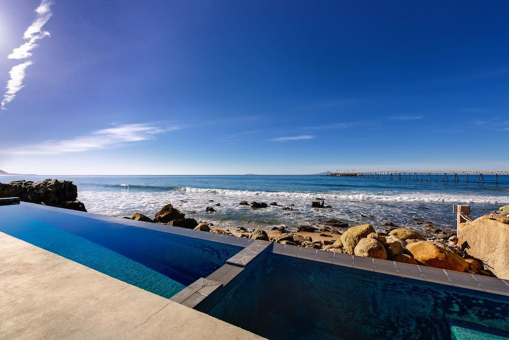 Your private pool--an architectural marvel that seems to flow into the sea.