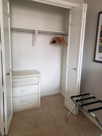 Empty closet with plenty of storage.  There is also storage space under the bed for suitcases.