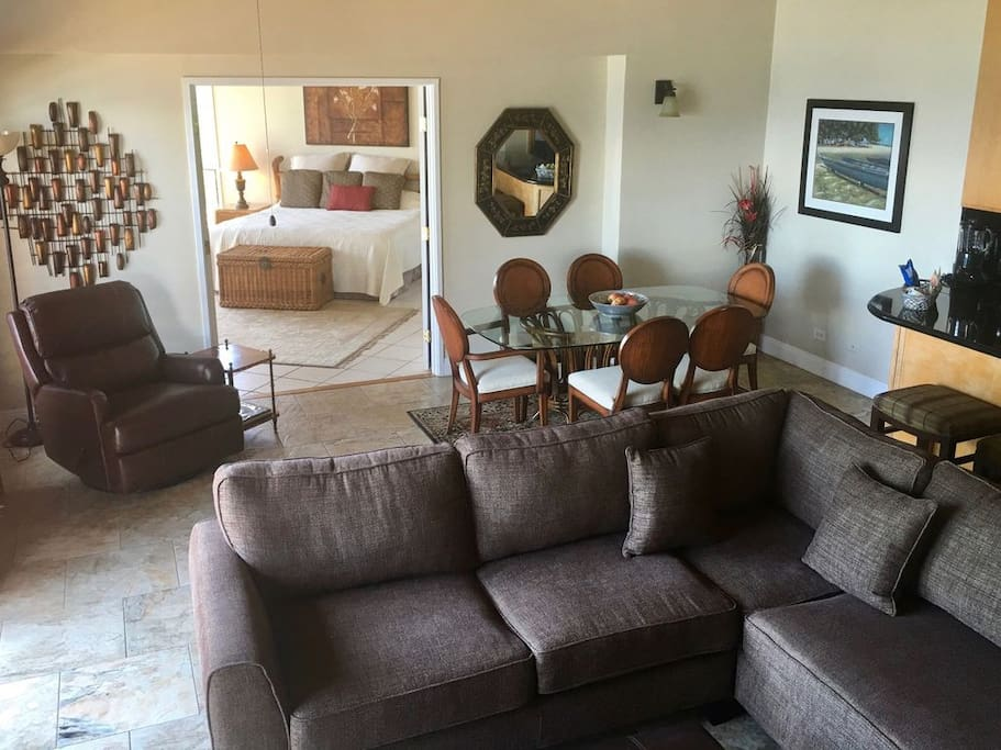 Spacious living room with magnificent views of both Lanai and Molokai