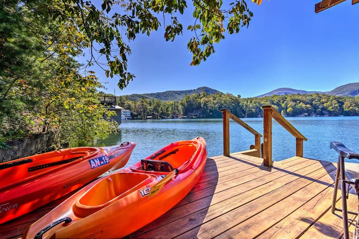 NEW! Private Lake Lure Cottage w/Boathouse & Decks