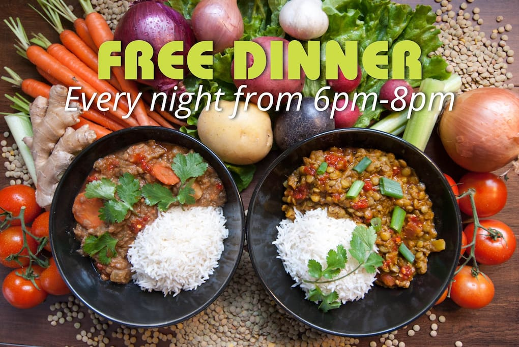We serve up a delicious free dinner every evening from 6.00pm-8.00pm. Enjoy Indian-style curried lentils over rice and/or vegetable stew over rice.