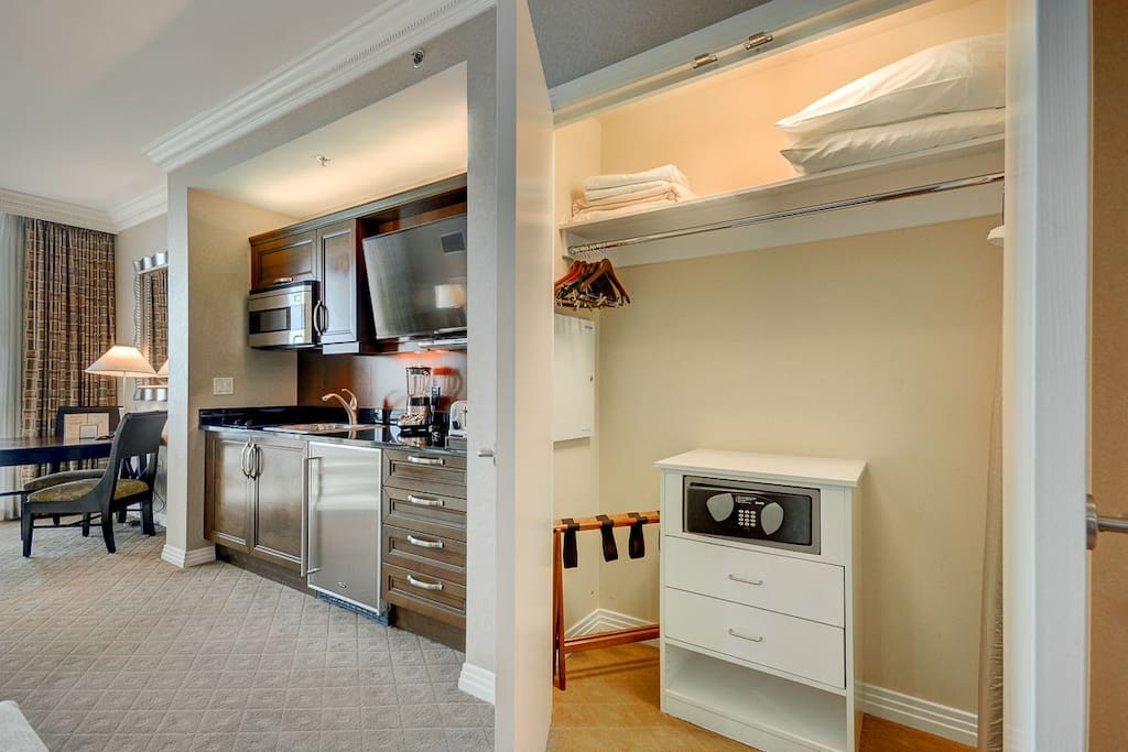 closet space and kitchen