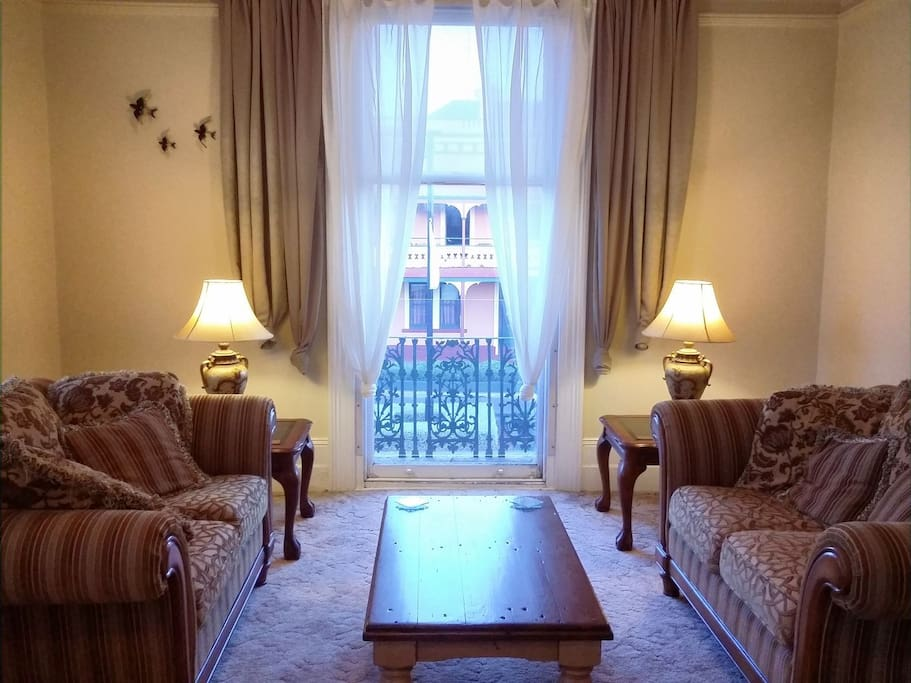 Upstairs lounge: peaceful, elegant & comfortable, with lovely views over the heritage street