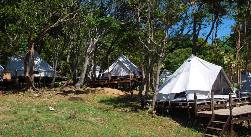 Cliff top tent on wooden platform