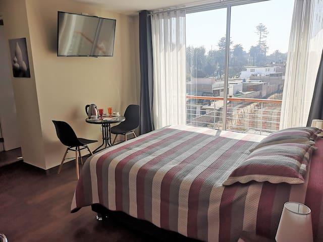 También cuenta con un balcón con vista a la calle Arica y al parque Colon. La iluminación y ventilación de la habitación es adecuada.
