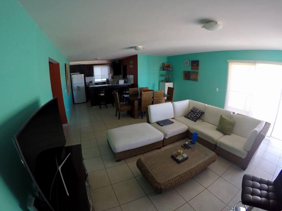 Sala lista para pasar un rato descansando, Living room so you can be resting confortable.