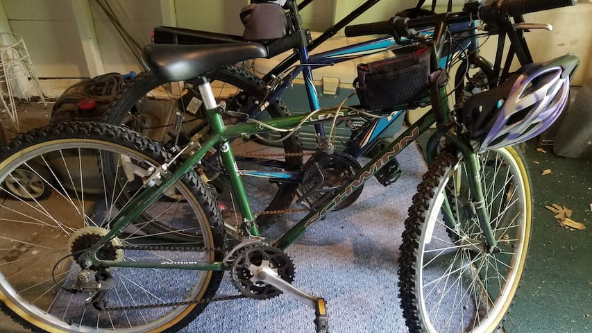 Two adult mountain bikes, helmets and locks free for your use.