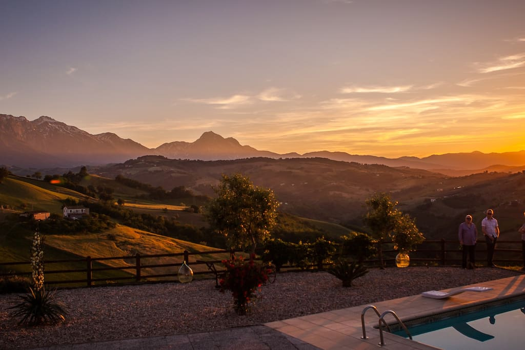 Sun setting over Gran Sasso, Apennines, from Casa Mimosa.