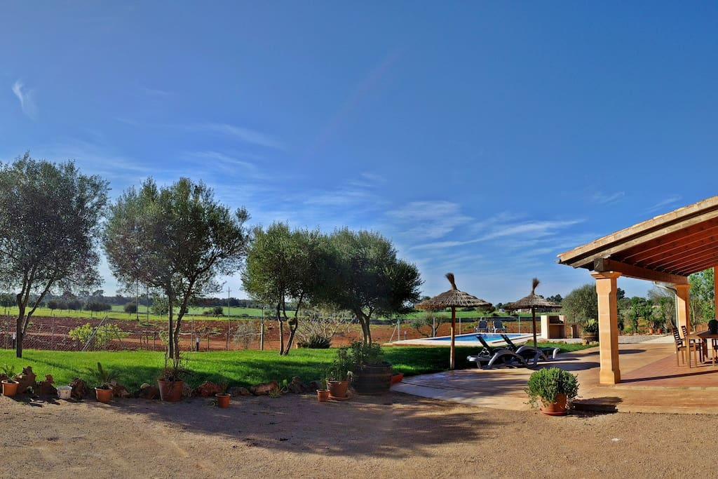 Imagen de la entrada a la propiedad en la que los huéspedes podrán estacionar su vehículo. Además, en esta imagen podemos apreciar la zona de jardín, la terraza de la casa y la zona de la piscina.