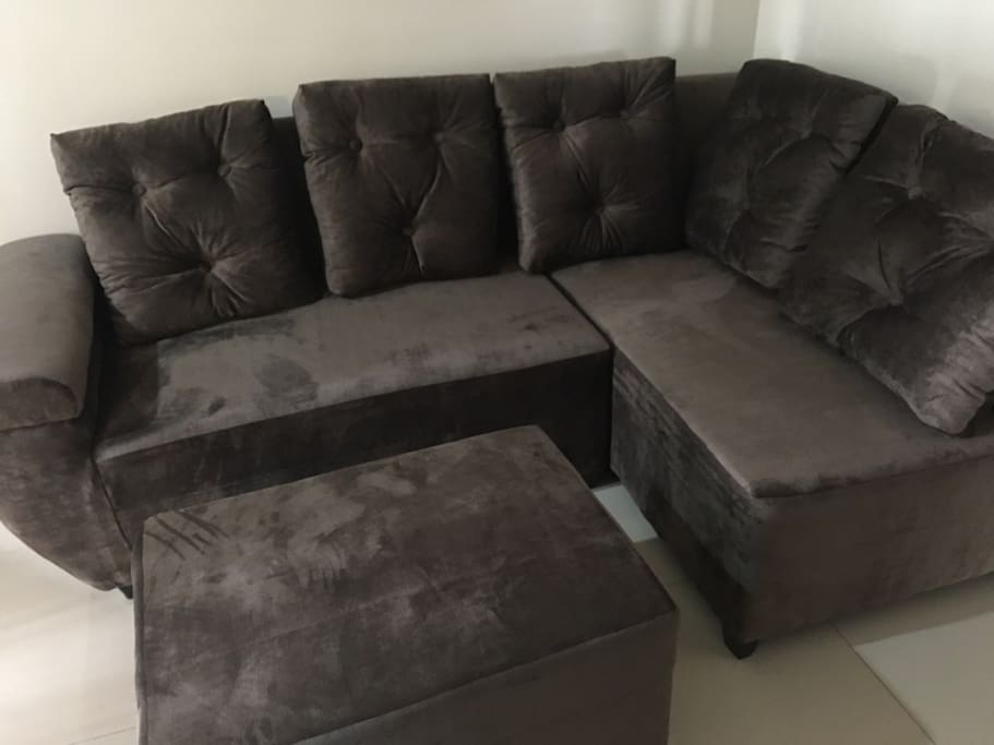 Living area, coach that can be re-arrange to be a sofabed