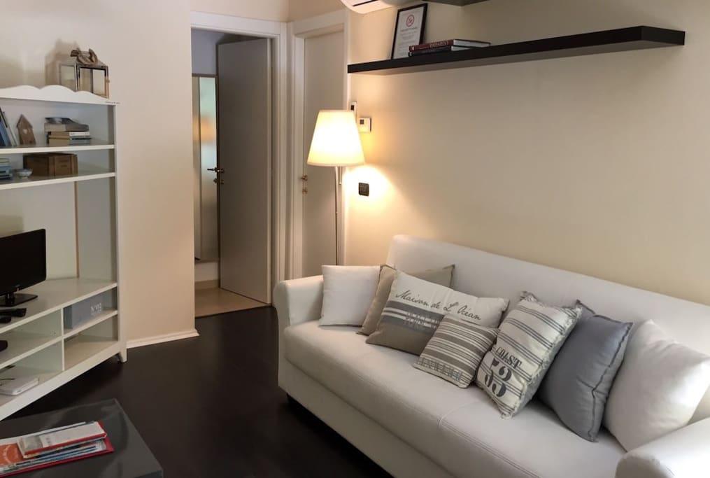 Living room with sofa and smart TV