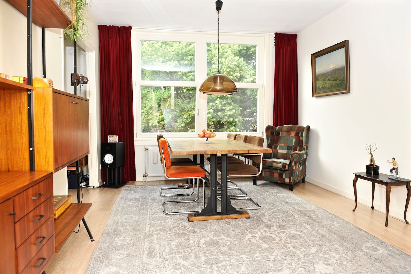 Lovely living room with diner table and just around the corner great couch
