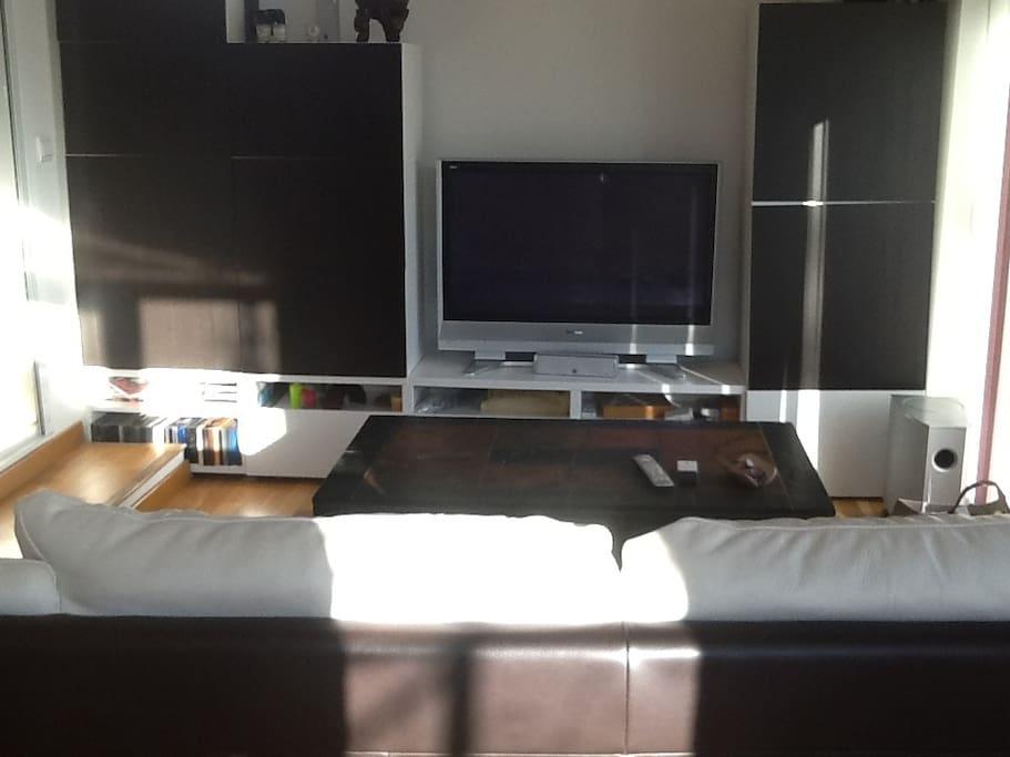 Salon télé avec Home cinéma et console PS4. Vue piscine