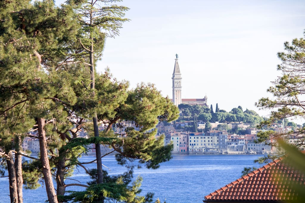 view of Rovinj peninsula from the southern terrace