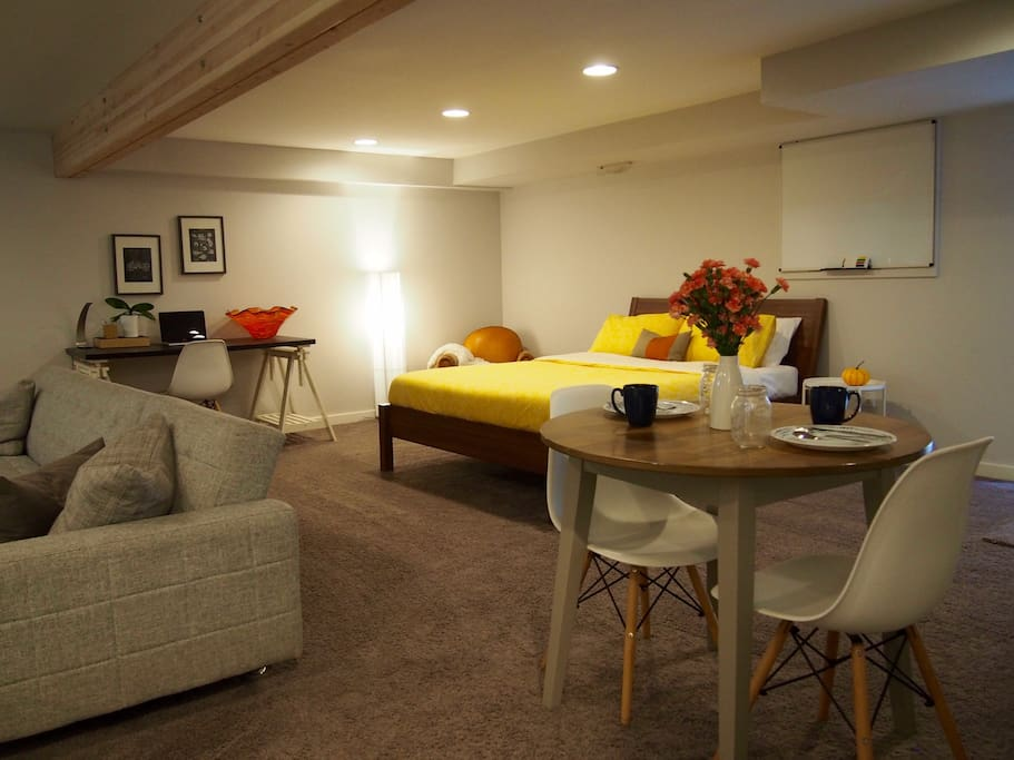 large and open feeling studio with all the space you would need for your stay in seattle