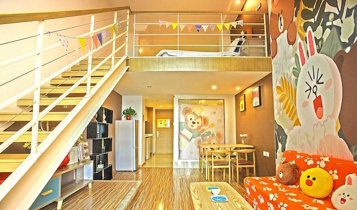 滨海line熊主题投影海景loft公寓房