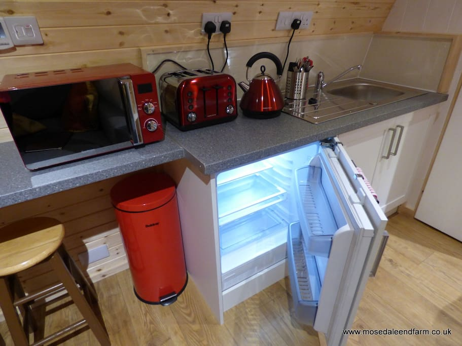 Kitchen with fridge in the Glamping Pod @ Mosedale End Farm.
