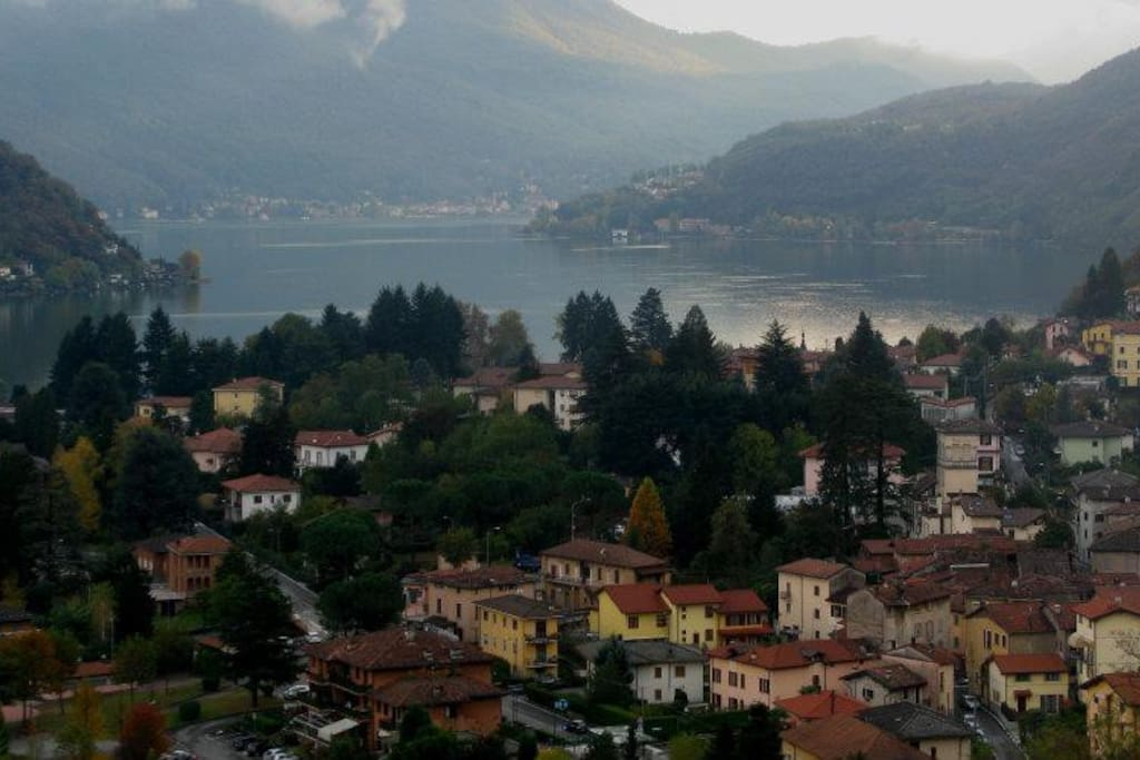 Stunning view of lake Lugano from the villa deck