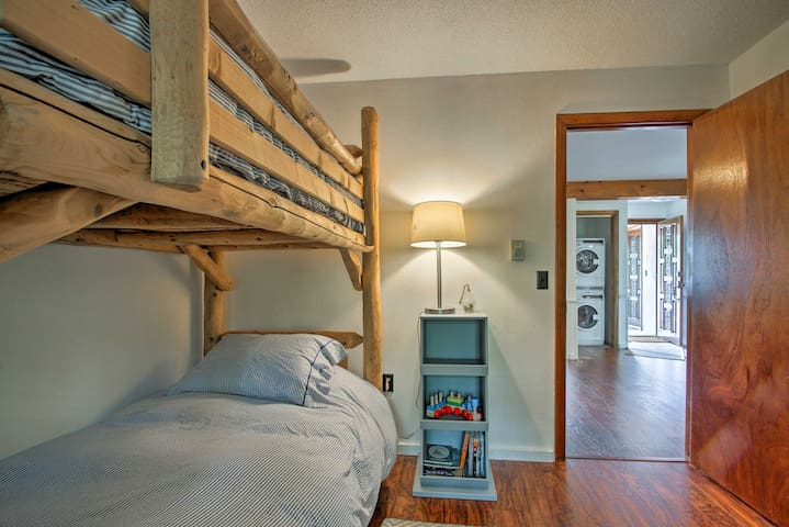 Kids will love sleeping in the twin-over-twin bunk bed.