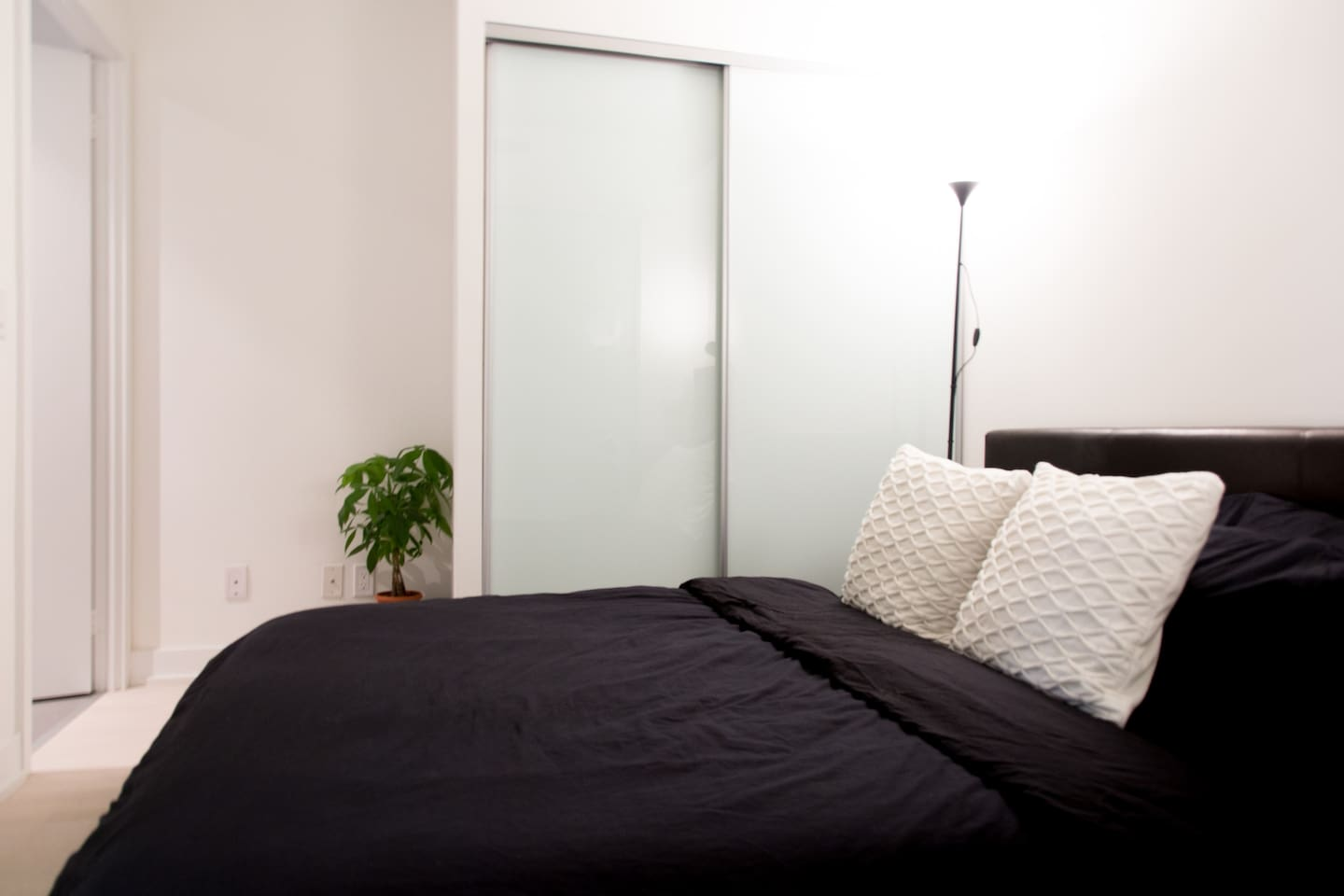 Your comfy bed with spacious closet and private washroom.