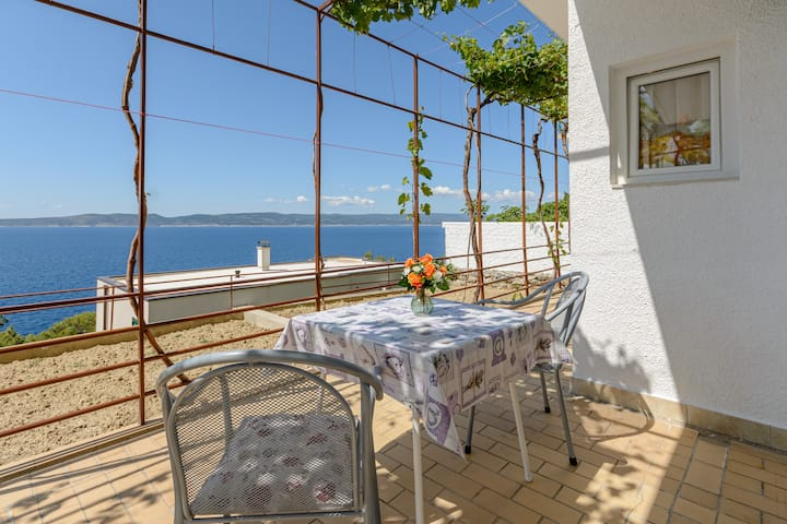 Rooms Sani- Double Room with Terrace and Sea View (S2)