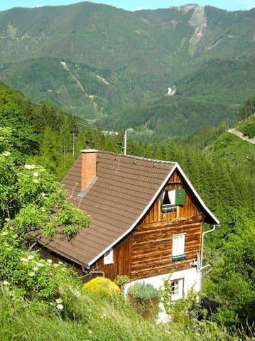 Romantische Ferienhütte Nationalpark Kalkalpen, Ennstal, Panoramablick, bis 6 Pers., WLAN, ruhige Sonnenlage