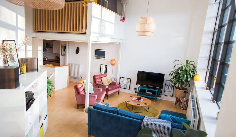 The Living Area with Mezzanine Bedroom above.
