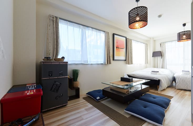 Near JR STA comfy 1-room real beds 4pax Free WiFi - 目黒区 - Flat