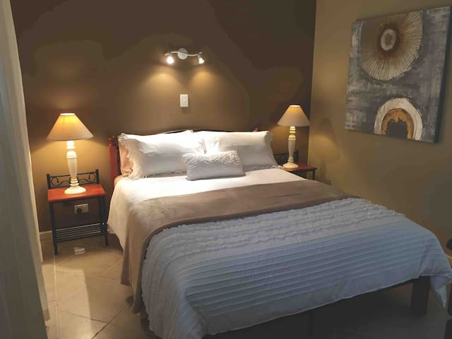 Bedroom with queen size bed and big walk-in robe.