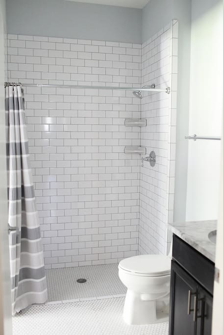 White subway tile Shower stall, bathroom vanity with mirror above sink. White hexagon tile floor. Bathroom is handicap accessible.
