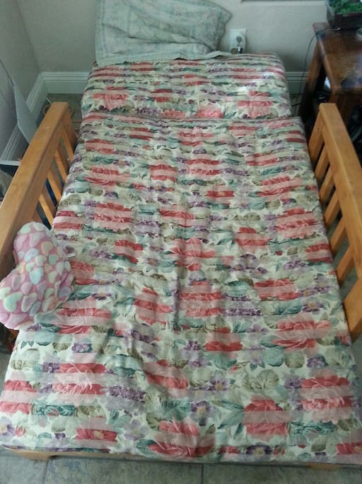 Futon in sleeping configuration in main room
