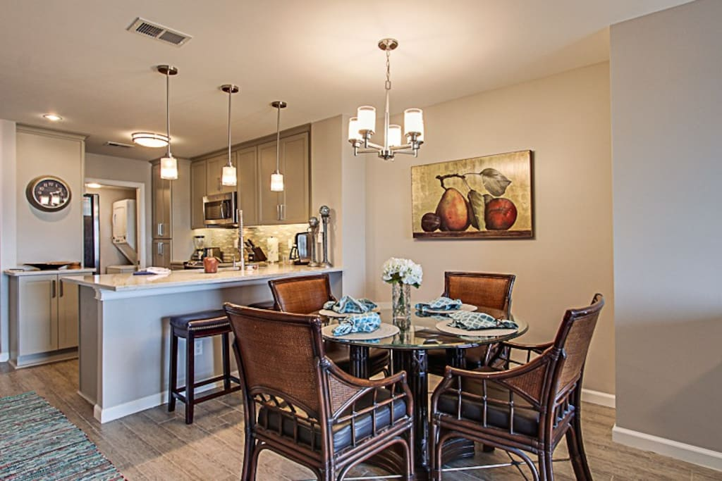 Seating for six.  Laundry room off kitchen.  Updated lighting fixtures!