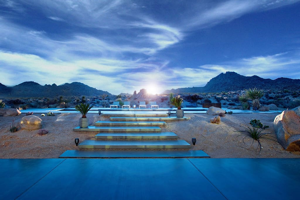 Views looking east over the pool are unobstructed. There is only the beautiful solitude of the desert beyond SkyHouse.