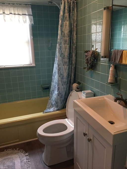 First floor bath with shower and tub