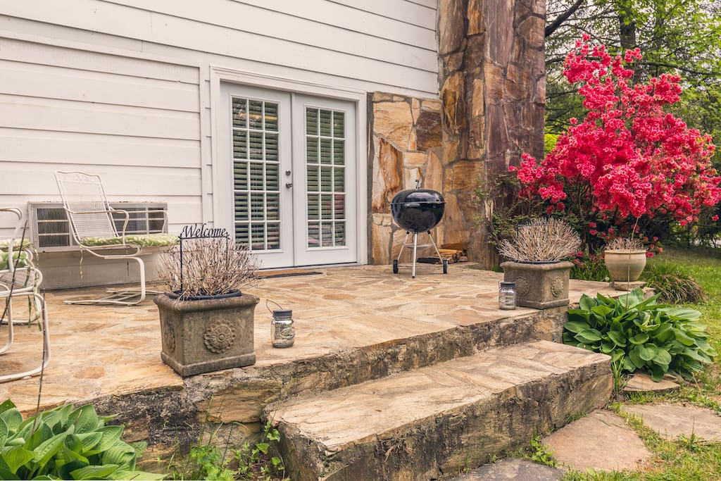 Two private stone patios