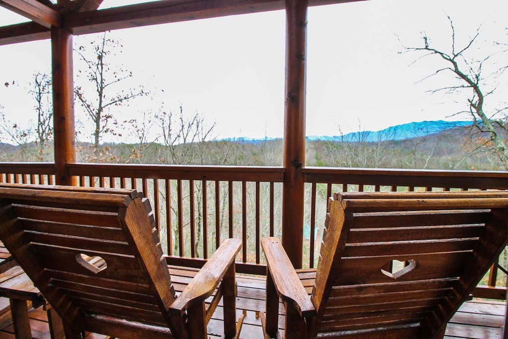 Wooded and Partial Mountain Views can be seen while enjoying some downtime on the balcony.