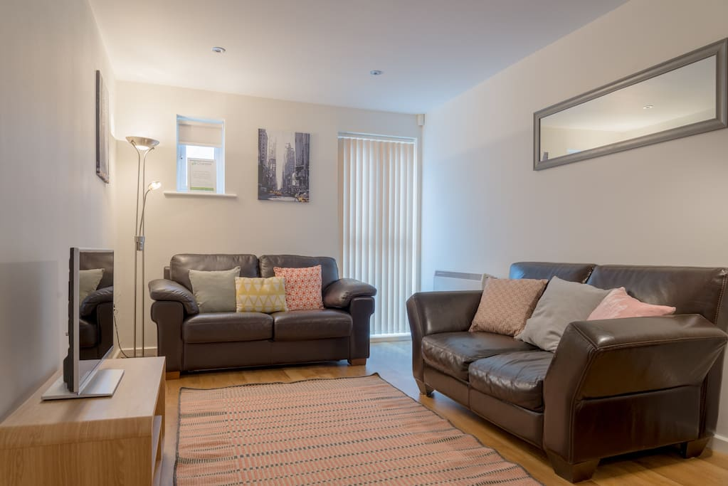Good size living room. Plenty of seating and a sofa bed for additional guests