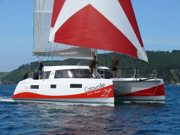 Belle cabine à bord d'un Catamaran