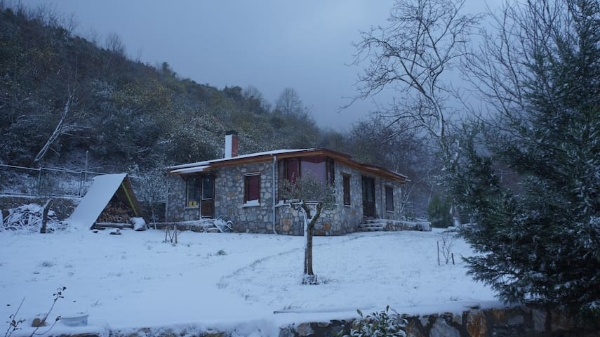 stone cottage in a moonlit garden, very peaceful - Yalova - Allotjament sostenible a la natura