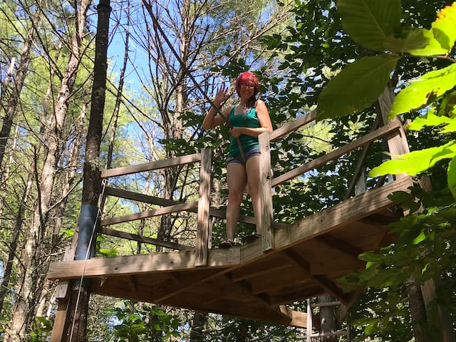 """Kirston about to take the """"leap of Faith"""" on our super swing in our back woods playground area."""