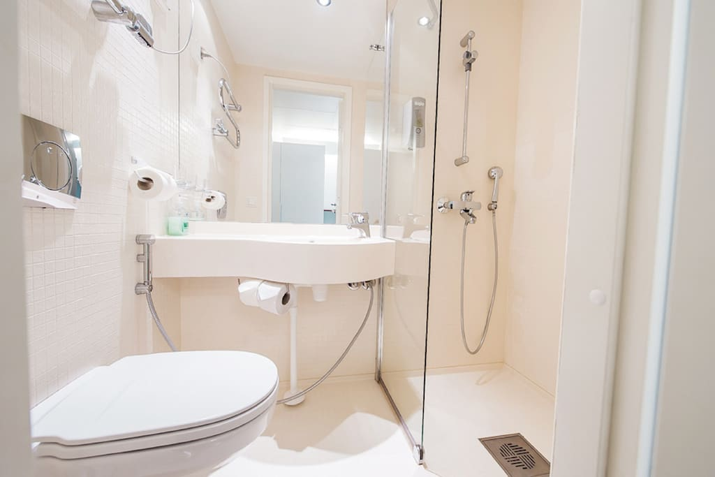 Spacious bathrooms with all modern fixtures.
