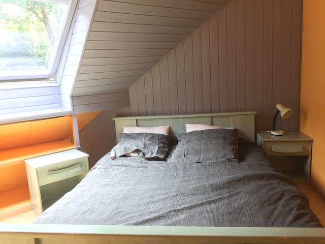 chambre bleue dans maison vue mer - Trélévern - House